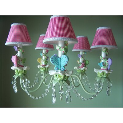 Bright Climbing Vine Butterfly 5-Light Shaded Chandelier Shade: Rainbow Retreat