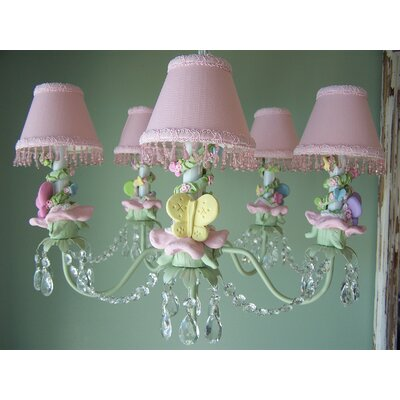 Pastel Climbing Vine Butterfly 5-Light Shaded Chandelier Shade: Seashell Pink