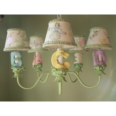 Blooming Abcs 5-Light Shaded Chandelier Shade: Primrose Pink