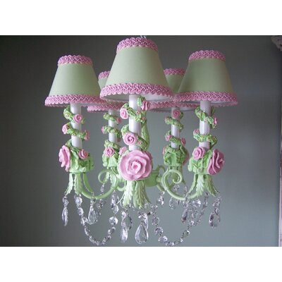 Petite in Bloom 5-Light Shaded Chandelier Shade: Pistachio Pudding
