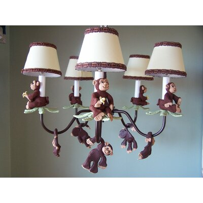 Monkey Business 5-Light Shaded Chandelier Shade: Jungle Luv