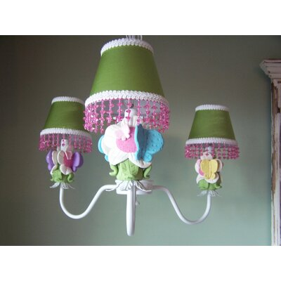 Butterfly Friends 3-Light Shaded Chandelier Shade: Kalees Artwork