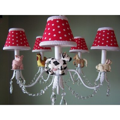 Barnyard Baby 5-Light Shaded Chandelier Shade: Farm House Gingham