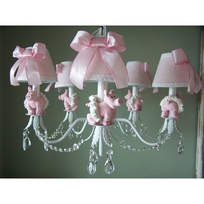 Piggy Princess 5-Light Shaded Chandelier Shade: Flower Girl Pink