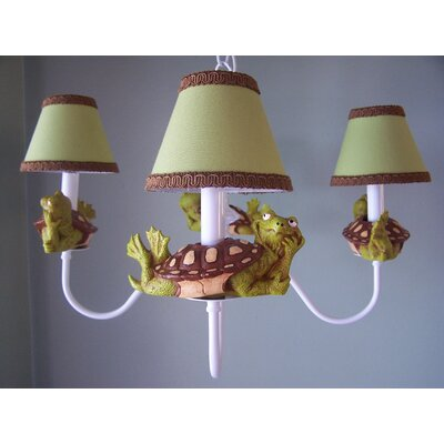 Tommy The Turtle 4-Light Shaded Chandelier Shade: Green Grass