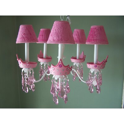 Glamour Girl Crowns 5-Light Shaded Chandelier Shade: Polka Pink Dot