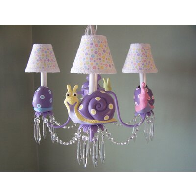 Snappy Snails 3-Light Shaded Chandelier