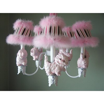 Prissy Kitty 5-Light Shaded Chandelier Shade: Primrose Pink