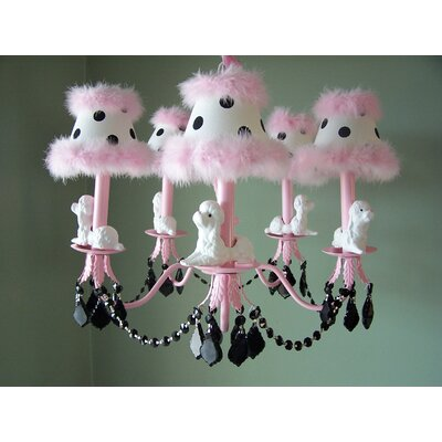 Fefe French Poodle 5-Light Shaded Chandelier Shade: Poodle Perfection