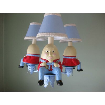 Humpty Dumpty 3-Light Shaded Chandelier Shade: Blue Bryant Park