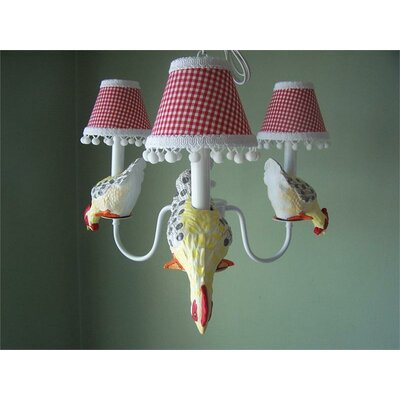 Farmyard Friends 3-Light Shaded Chandelier Shade: Fun Primary Plaid