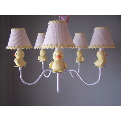 Rubber Duckie 5-Light Shaded Chandelier Shade: Delightful Dots Lemonade