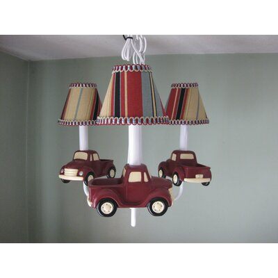 My Vintage Truck 3-Light Shaded Chandelier Shade: Striped Clamshell