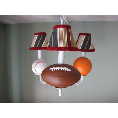 All Star Sports 3-Light Shaded Chandelier Shade: Sports Stripe
