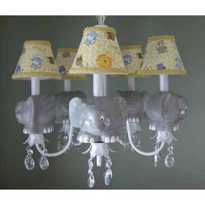 Elephant Parade 5-Light Shaded Chandelier Shade: Jungle Luv