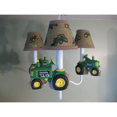 Farm Tractors 3-Light Shaded Chandelier Shade: Tractor Plaid