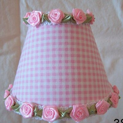 Gardens of Gingham 11 Fabric Empire Lamp Shade Shade Color: Pink