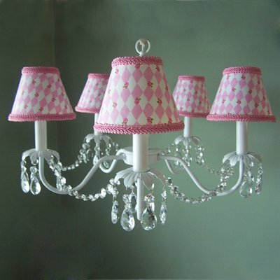 Camillah 5-Light Shaded Chandelier Shade: Cherry Dot