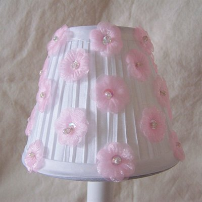 5 Fabric Empire Candelabra Shade Color: White / Pink