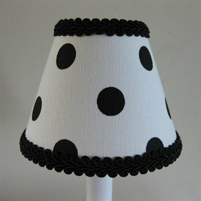 Black Dotty Dots 5 Fabric Empire Candelabra Shade