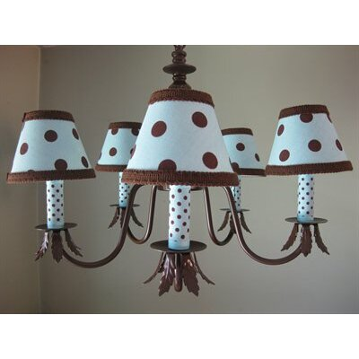 Dottie 5-Light Shaded Chandelier Shade: Brown and Blue Dotty Dots