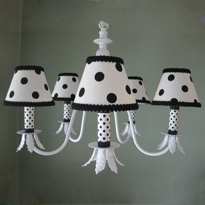 Dottie 5-Light Shaded Chandelier Shade: Black Dotty