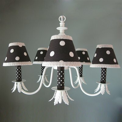 Chocolate and Natural Dottie 5-Light Shaded Chandelier