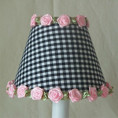 Gardens of Gingham 5 Fabric Empire Candelabra Shade Color: Black