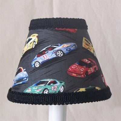 Race Car 5 Fabric Empire Candelabra Shade