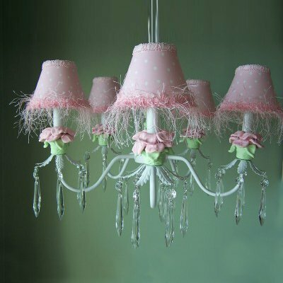 Baby Pink Flower 5-Light Shaded Chandelier Shade: Minky Dinky Doo Pink