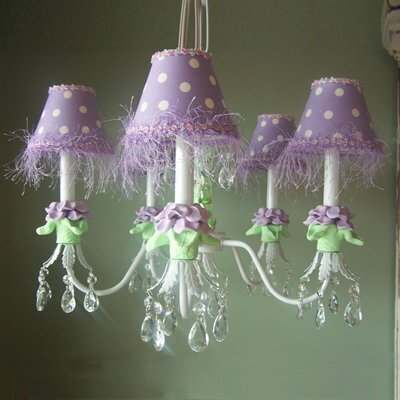 Baby Lavender Flower 5-Light Shaded Chandelier Shade: Lavender Venise Lace