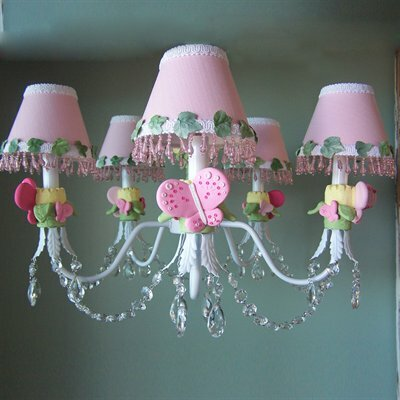 Pink Flutter Butterfly 5-Light Shaded Chandelier Shade: Polka Pink