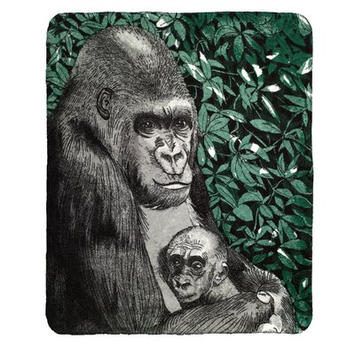 Mother and Baby Gorilla Throw Blanket
