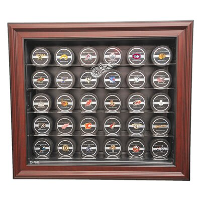 Caseworks International NHL Thirty Puck Cabinet Style Display Case in Mahogany - NHL Team: Detroit Red Wings, UV Protection: No