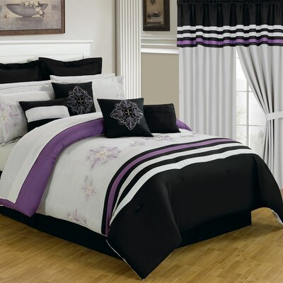 Rachel 24 Piece Bed-In-A-Bag Set Size: King