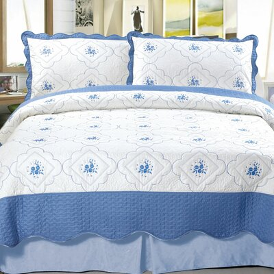 Brianna Embroidered Coverlet Set Size: King