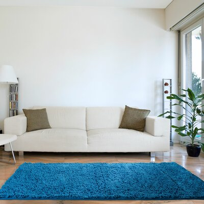 Resera High Pile Shag Blue Area Rug