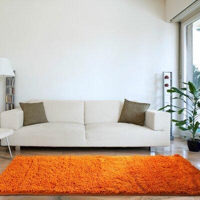 Canobbio High Pile Shag Hand-Woven Orange Area Rug