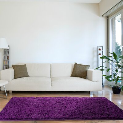 Lutner High Pile Shag Hand-Woven Purple Area Rug