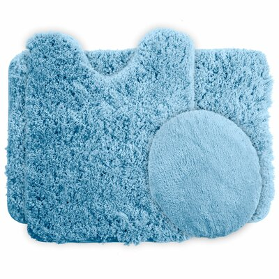 3 Piece Super Plush Non Slip Bath Rug Set Color: Blue
