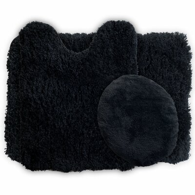 3 Piece Super Plush Non Slip Bath Rug Set Color: Black