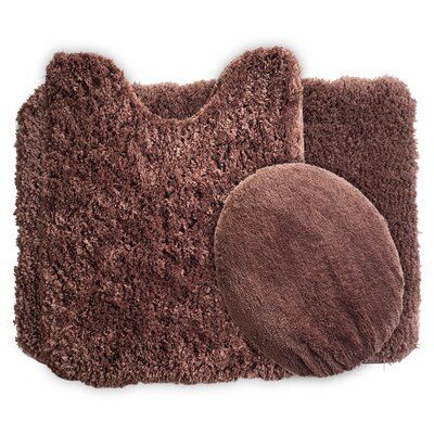 3 Piece Super Plush Non Slip Bath Rug Set Color: Chocolate