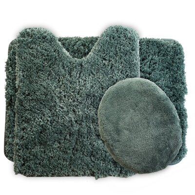3 Piece Super Plush Non Slip Bath Rug Set Color: Green