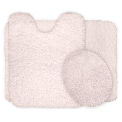 3 Piece Super Plush Non Slip Bath Rug Set Color: Ivory