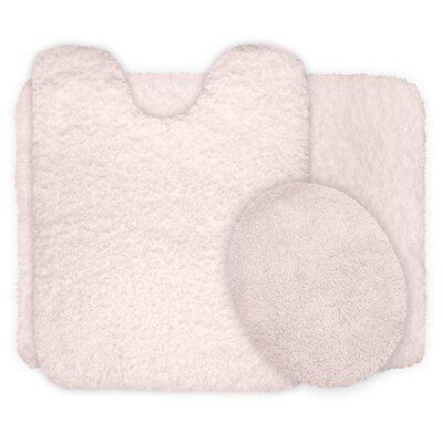 3 Piece Super Plush Non Slip Bath Rug Set Color: Ivory