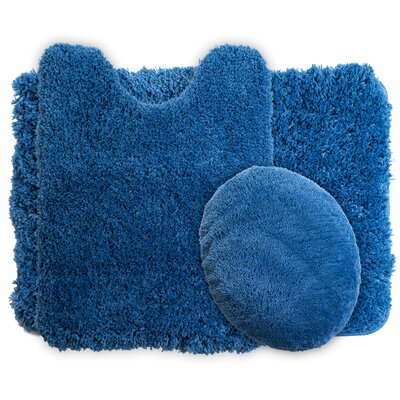 3 Piece Super Plush Non Slip Bath Rug Set Color: Navy
