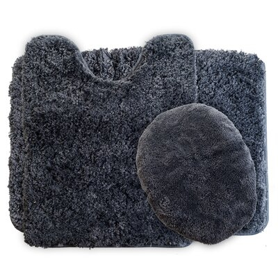 3 Piece Super Plush Non Slip Bath Rug Set Color: Platinum