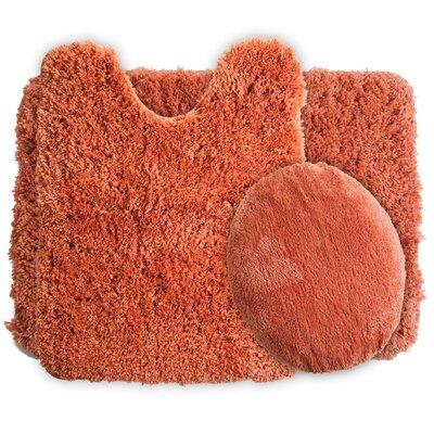 3 Piece Super Plush Non Slip Bath Rug Set Color: Rust