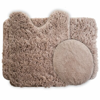 3 Piece Super Plush Non Slip Bath Rug Set Color: Taupe