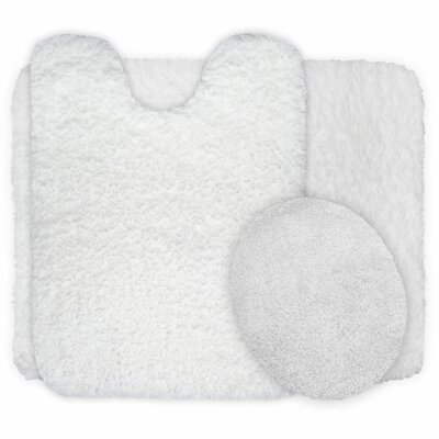 3 Piece Super Plush Non Slip Bath Rug Set Color: White